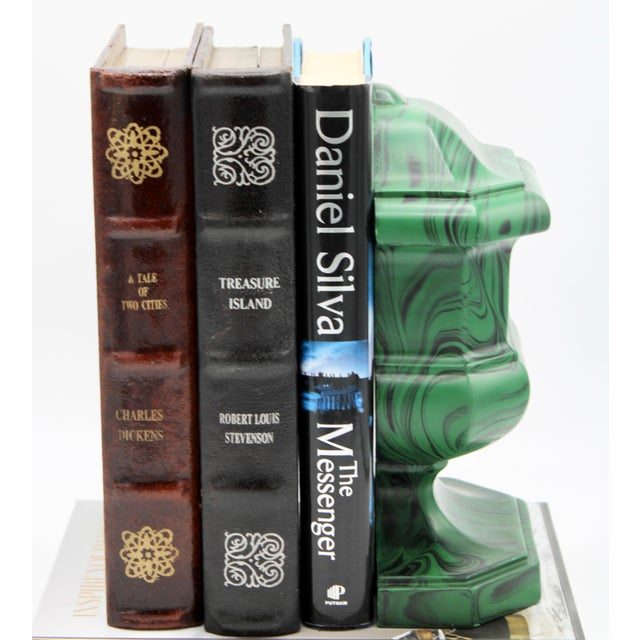 Green Large Vintage Faux Malachite Chess Piece Bookend For Sale - Image 8 of 11