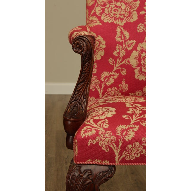 Georgian Style Custom Quality Carved Mahogany & Upholstered Set 10 Dining Chairs For Sale - Image 9 of 13
