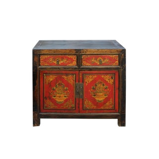 Chinese Distressed Red Tibetan Treasure Graphic Console Table Cabinet For Sale