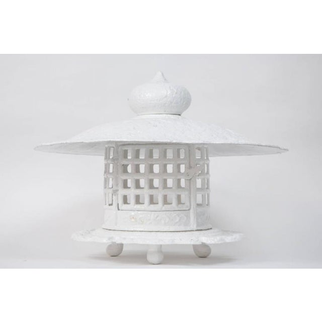 1960s 1960s Large Scale White Lacquer Cast Iron Pagoda For Sale - Image 5 of 7