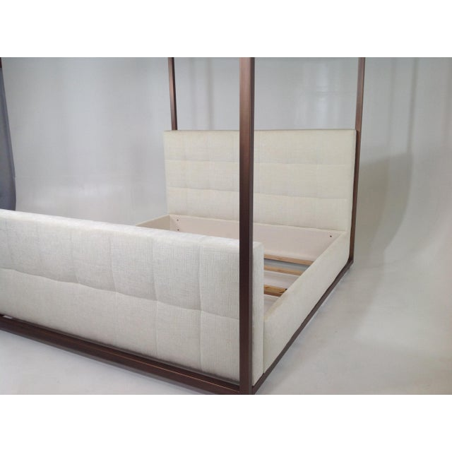 Metal Modern Canopy Bed With Copper Finish and Chenille Fabric For Sale - Image 7 of 8