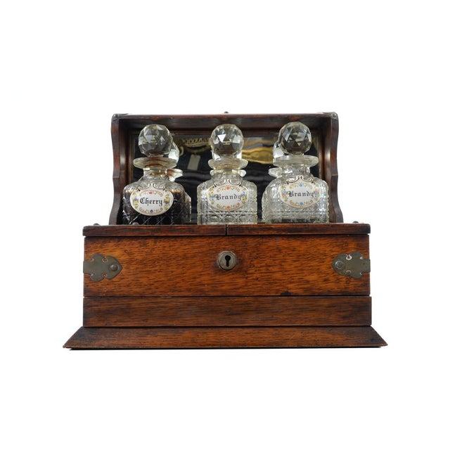 19th C Antique Captain Oak Tantalus & 3 Decanters - Image 3 of 9