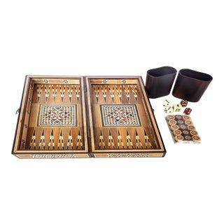 Vintage Moroccan Mother-Of-Pearl & Bone Inlaid Backgammon Set For Sale