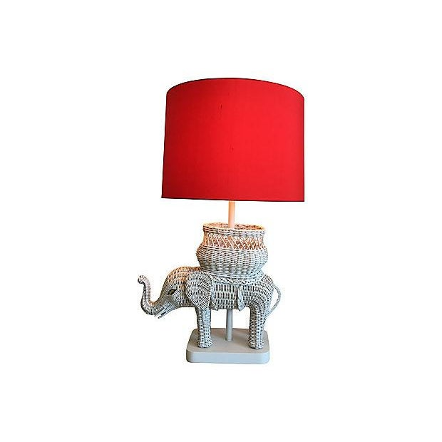 Paul Hanson Hanson Wicker Elephant Lamp & Shade For Sale - Image 4 of 8