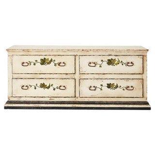 Country Italian Painted Four-Drawer Commode or Sideboard For Sale