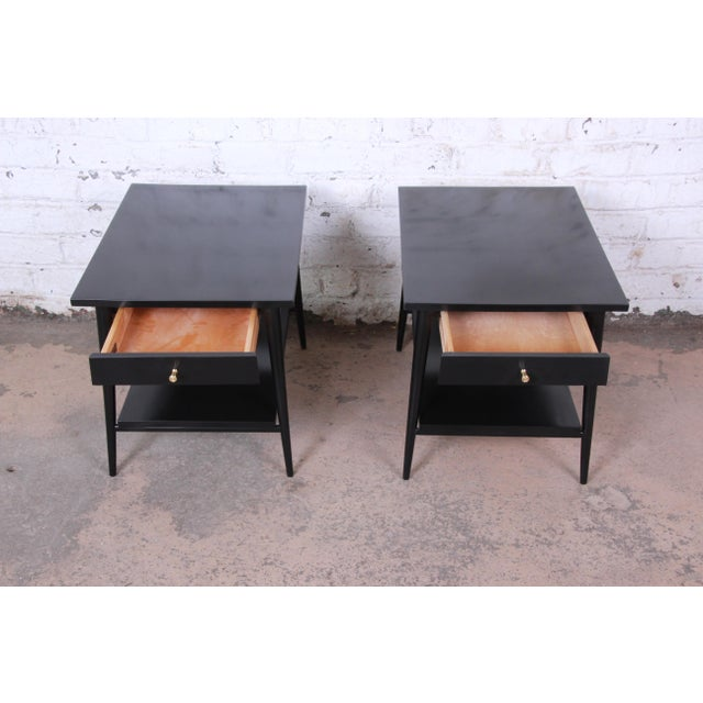 Brass Paul McCobb Planner Group Ebonized Nightstands or End Tables, Pair For Sale - Image 7 of 13