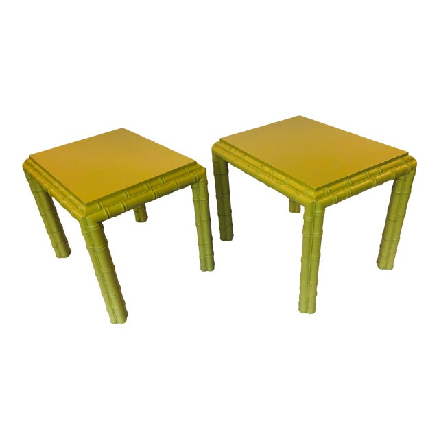 Vintage Chippendale Faux Bamboo Side Tables - a Pair For Sale