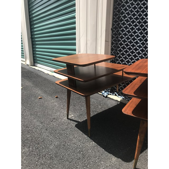 Brass Mid-Century Modern 3 Tier Wood/Brass Side Tables - a Pair For Sale - Image 7 of 10