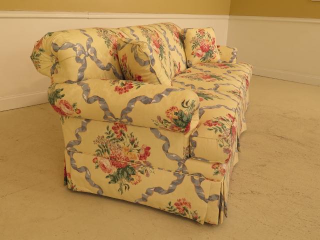 Ethan Allen Ethan Allen Floral Damask Print Upholstered Sofa For Sale    Image 4 Of 13
