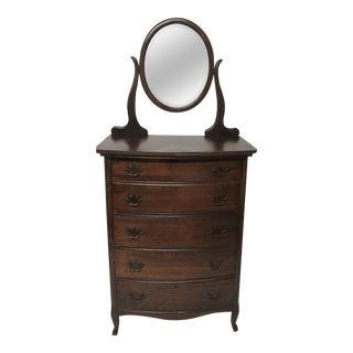 Antique Oak Tall Dresser With Mirror