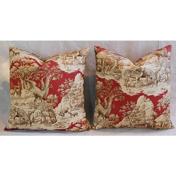 Custom French Woodland Deer Toile Pillows - Pair - Image 3 of 8