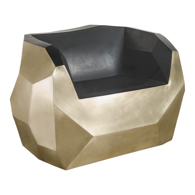 Hand Repousse Facet Lounge Chair in Brass W/ Black Lacquer by Robert Kuo, Limited Edition For Sale