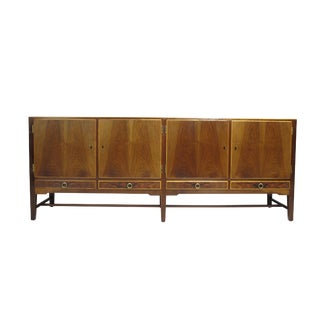 1930s Danish Walnut Credenza With Brass Pulls For Sale