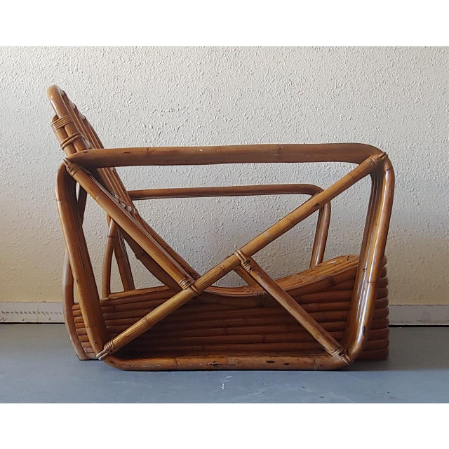 Mid 20th Century Paul Frankl Style Swoop Seat Rattan Lounge Chair For Sale - Image 10 of 13