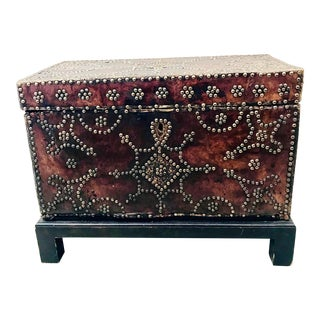 19th Century Spanish Leather and Nailhead Trunk For Sale