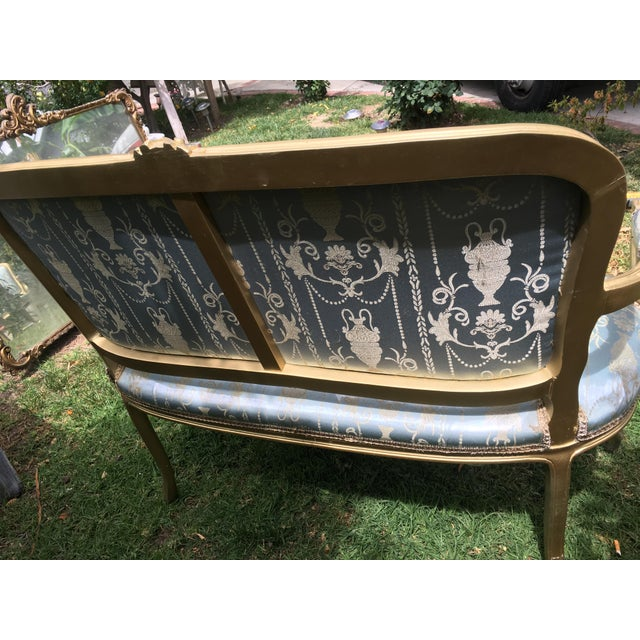 Gold Gilt Italian Louis XVI Settee & Chairs - Set of 5 - Image 5 of 8