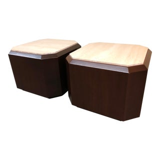 Pair of Contemporary Travertine-Top End Tables For Sale