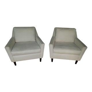 West Elm Pindot Faux Suede Bone Everett Chairs- A Pair For Sale