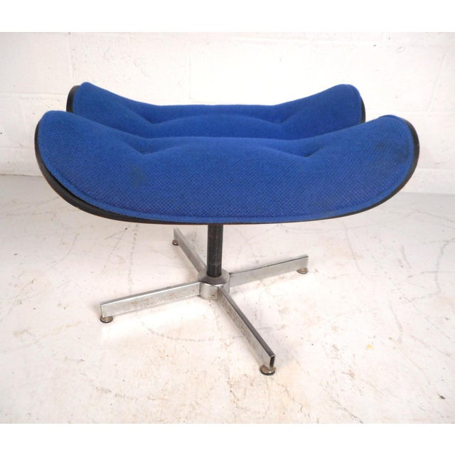 Fabric Vintage Modern Eames Style Swivel Lounge Chair and Ottoman For Sale - Image 7 of 13