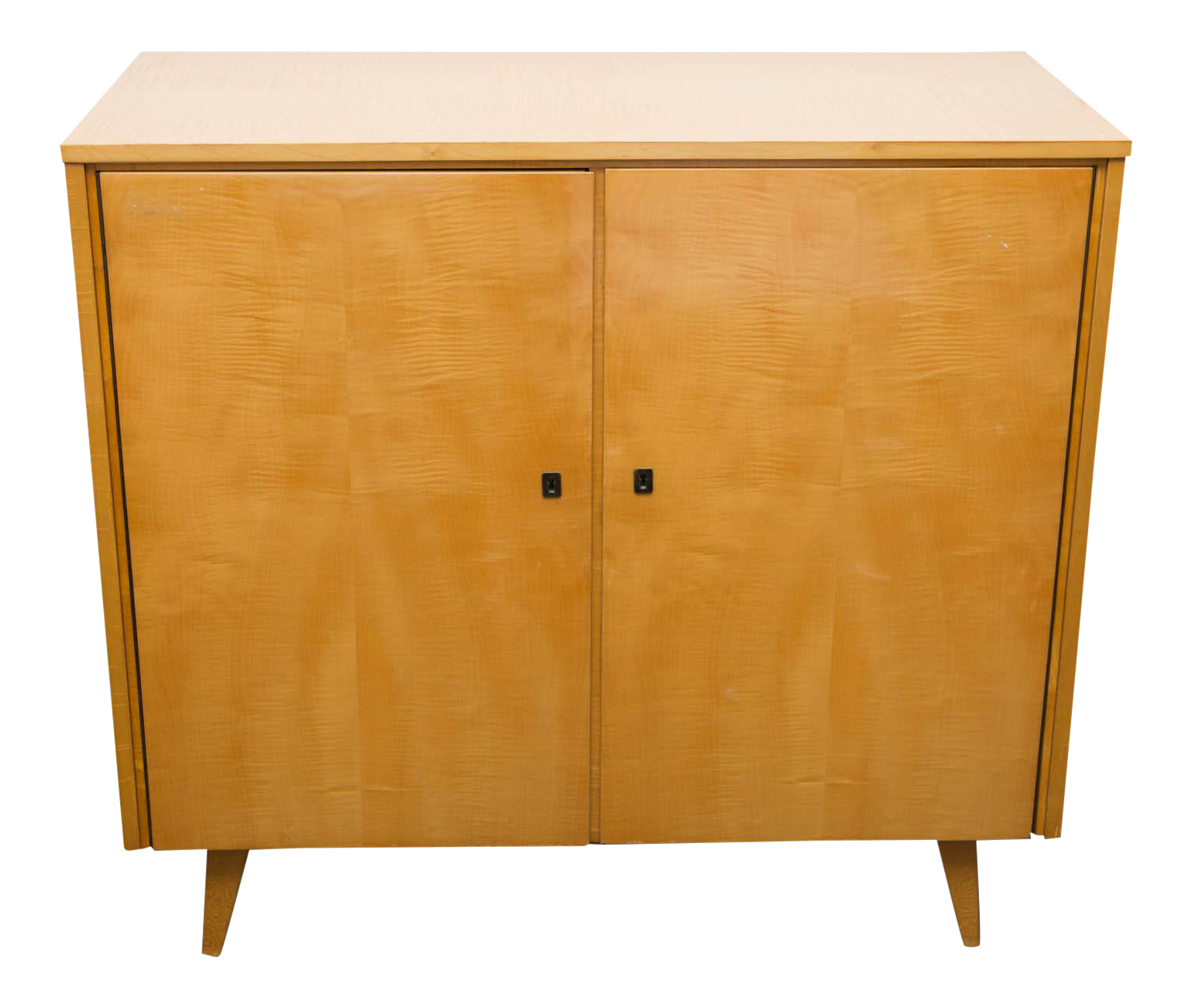 Exceptional Midcentury Blonde Mahogany And Tiger Maple Cabinet Decaso