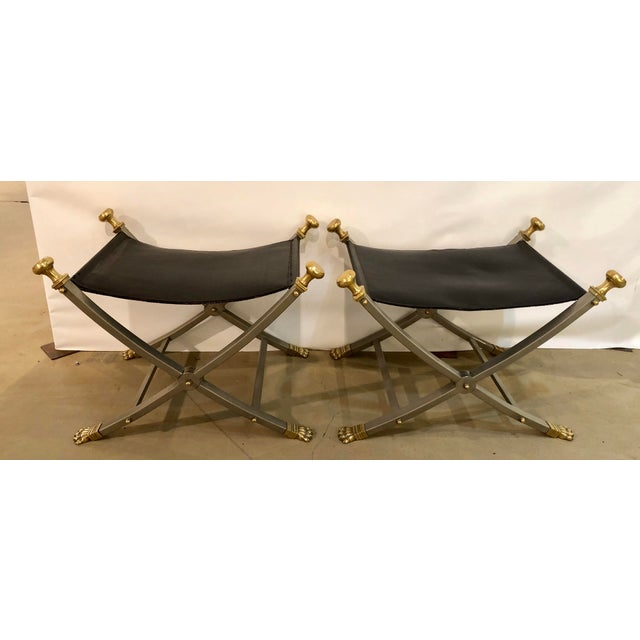 Maison Jansen Late 20th Century Jansen Style Sling Leather Seat Folding Stools- A Pair For Sale - Image 4 of 9