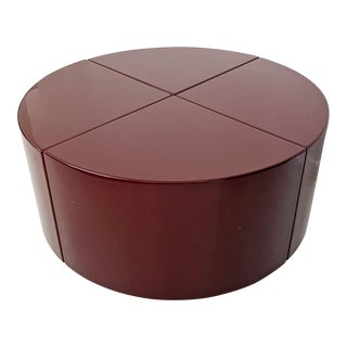 1960s Contemporary 4-Piece Pie Shaped Maroon Coffee Table For Sale