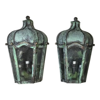 Contemporary Hand Craftd Wall Mounted Brass Lanterns - a Pair For Sale