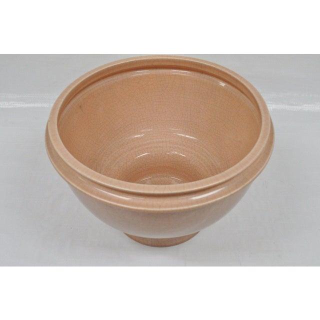 "Italian Vintage Bitossi Italian Mid Century Modern Pink 10""h Crackle Glazed Ceramic Bowl For Sale - Image 3 of 10"