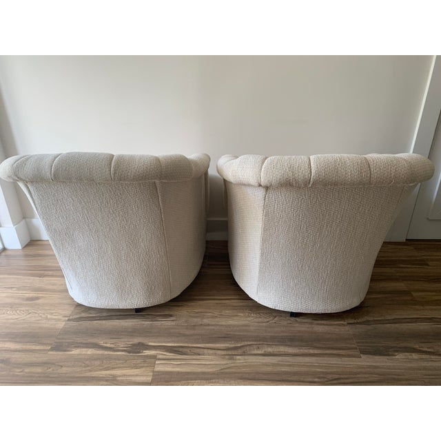 Vanilla Channel Back Club Chairs in the Manner of Kagan - a Pair For Sale - Image 8 of 13