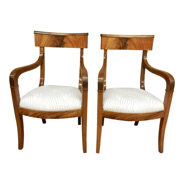 Pair of Neo-Classical Empire Arm Chairs For Sale
