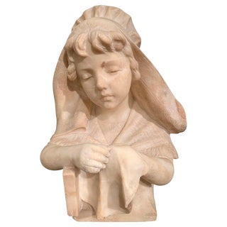 Mid-19th Century French Carved Beige Marble Bust Sculpture of Young Girl For Sale