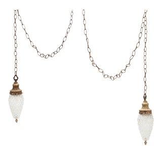 Hollywood Regency Double Glass Acorn Swag Pendant Chandelier For Sale