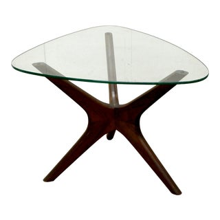Adrian Pearsall Craft Associates Walnut and Glass End Table For Sale