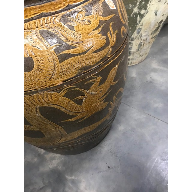 "Early 20th Century Antique Chinese Ceramic ""Dragon"" Pot For Sale - Image 5 of 9"