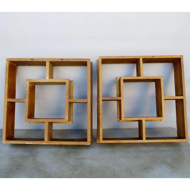 Vintage Bamboo Rattan Tiki Atomic Retro Whatnot Shelves, a Pair For Sale - Image 4 of 8