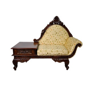 Vintage Victorian Style Carved Telephone Bench For Sale