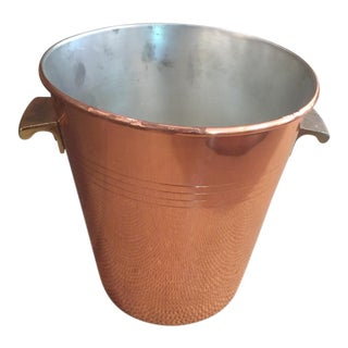 French Vintage Copper Ice Bucket For Sale