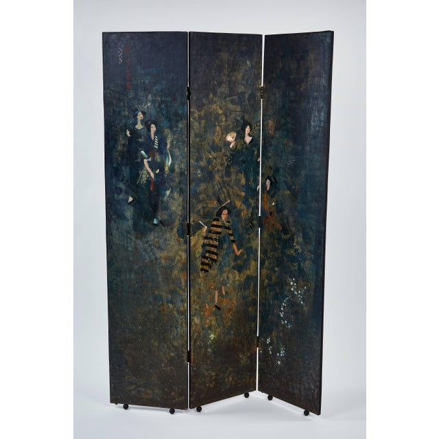 1960s Paravento Screen Made by Eugene Klementieff in the Japonisme Style For Sale - Image 5 of 8