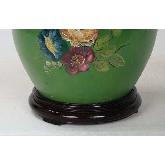 Green 20th Century Art Deco Hand Painted Porcelain Table Lamp For Sale - Image 8 of 9