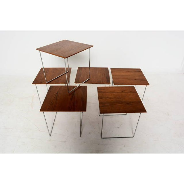 For your consideration a set of six interlocking nesting tables with chromed steel legs expertly engineered to nest into a...