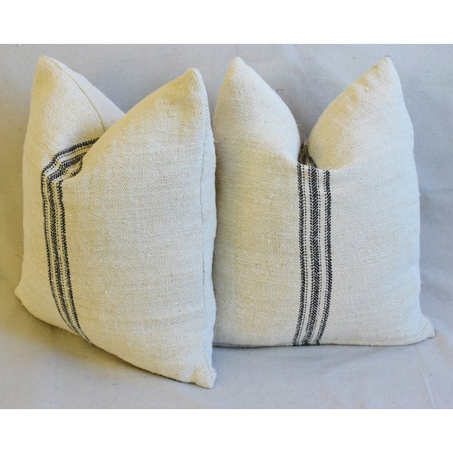"""French Woven Black Striped Grain Sack Feather/Down Pillows 20"""" X 21"""" - Pair For Sale - Image 9 of 12"""