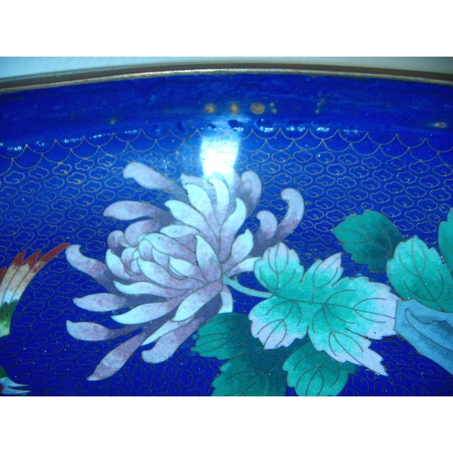 Large Blue Cloisonné 'Flower Bowl' and Stand - Image 11 of 11