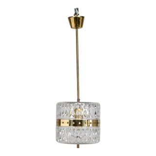 Kalmar Clear Crystal and Brass Pendant Fixture For Sale