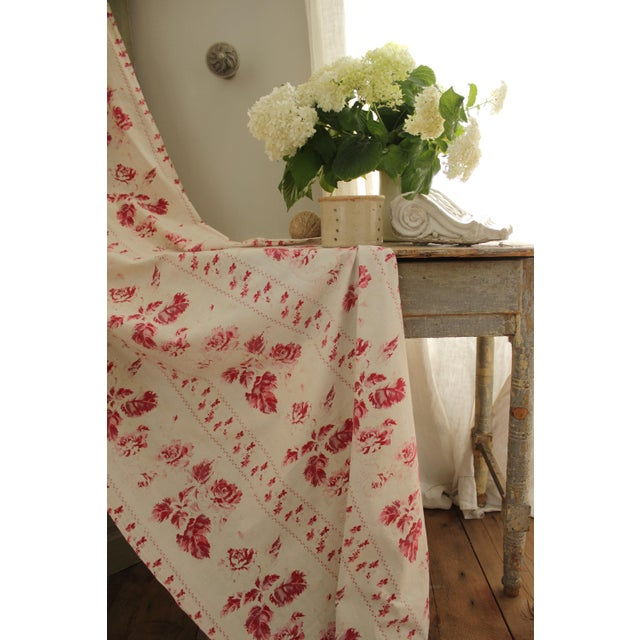 Shabby Chic Faded Floral Drape Curtain For Sale - Image 9 of 11