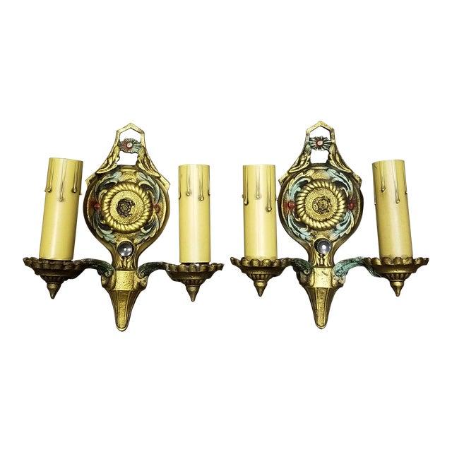 1920s Riddle Art Deco Art Nouveau Sconces - A Pair For Sale
