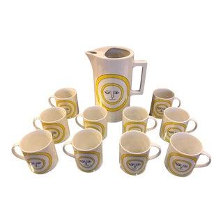 Mid-Century Modern Ceramic Coffee Pot and Mug Set For Sale