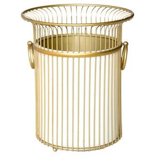 Gold Waste Basket W Cream Liner, 2 Pcs