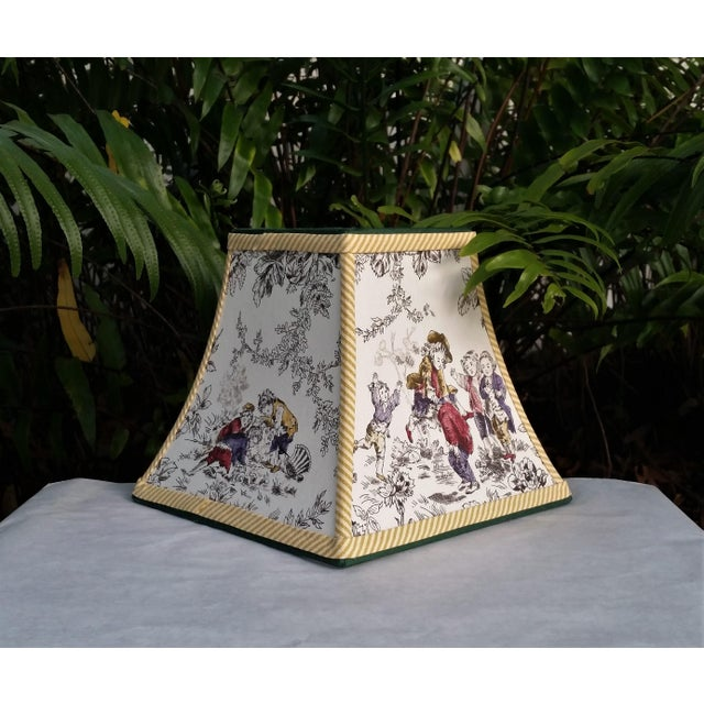 Metal Toile Lampshade French Country Square Bell For Sale - Image 7 of 11