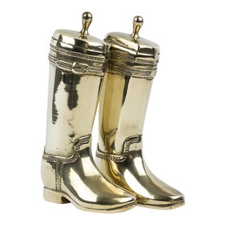 Brass Texan Boot Bookends - A Pair For Sale