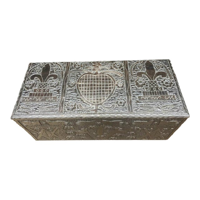 Masonic Iconography Hand Carved Chest For Sale